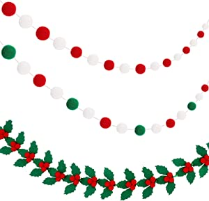 Tatuo 3 Pieces Christmas Felt Garlands Colorful Pom Pom Garlands in Red, Green and White Decorative Holly and Berries Felt Banners Christmas Holly Felt Hanging Garlands for Christmas Holiday Decor