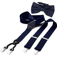 DonDon Tirantes para hombres ancho 3,5 cm en forma de Y, elásticos y ajustables en paquete de 2 con pajaritas adecuada…