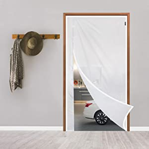 MEFENY Magnetic Thermal Insulated Door Curtain 32'' x 80'' Translucent, Durable TPU Plastic Reversible Left Right Side Opening Door and Large Window Cover, Keeps Kitchen Warmer/Cooler