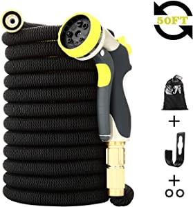 DOYES Expandable Garden Hose 50 ft Flexible Water Hose with Durable Latex Core, Solid Brass Fittings Super Strength Fabric 8 Pattern Spray Nozzle-Upgraded