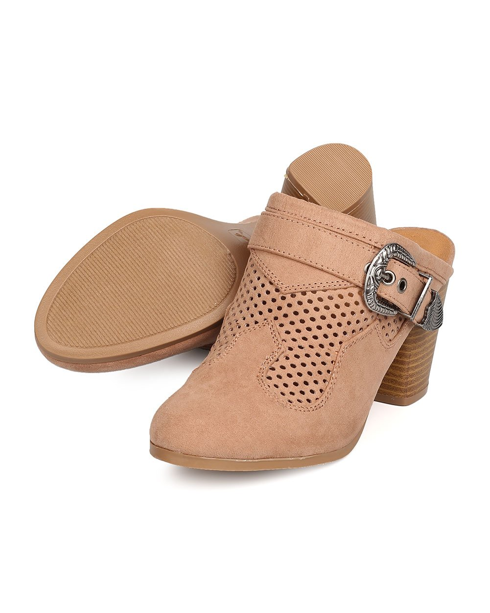 Qupid Women Faux Suede Perforated Buckled Chunky Heel Mule FD91 - Taupe (Size: 7.5) by Qupid (Image #4)