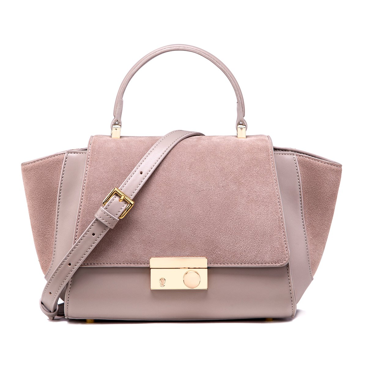 Ladies Cute Purses Designer Leather Grey Handbags with Adjustable Shoulder Strap by LA'FESTIN