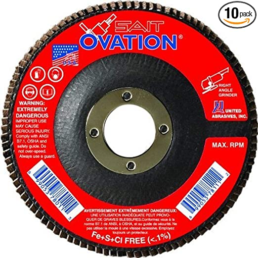 "SAIT  UNITED  ABRASIVES  78106 OVATION  FLAP  DISC  4.5 X 5//8/""  Z40  5-WHEELS"