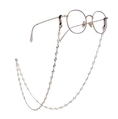 ba0f9325f5fc cooltime Caterpillar Eyeglass Chain Holder Eyewear Accessories for Men  Women (Gold-Black Rubber)