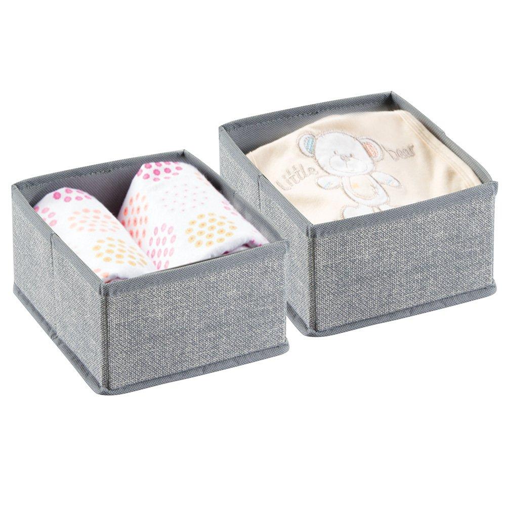mDesign Organizador para bebe – 2 Cajones organizadores para cosas de bebé, mantas, etc. – También puede ser utilizado como caja para guardar juguetes – Color:gris MetroDecor 1434MDB
