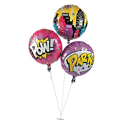 Fun Express - Superhero Girl Mylar Balloons (3pc) for Birthday - Party Decor - Balloons - Mylar Balloons - Birthday - 3 Pieces: Toys & Games