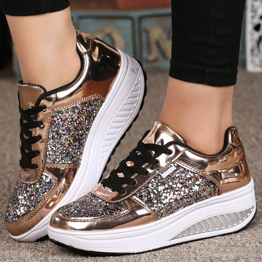 Lanchengjieneng Ladies Walking Platform Shoes, Womens Fitness 3D Orthopedics Wedge Sneakers with 3D Fitness Glitters B07FF3QV8Y 8.5 US Women/39 EU|Gold c6d419