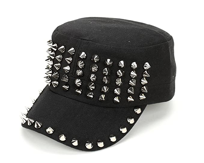 546d282358c Image Unavailable. Image not available for. Color  Military Velcroback  Metal Studded Spiked Rivet Hedgehog Punk Rock Cap Hat
