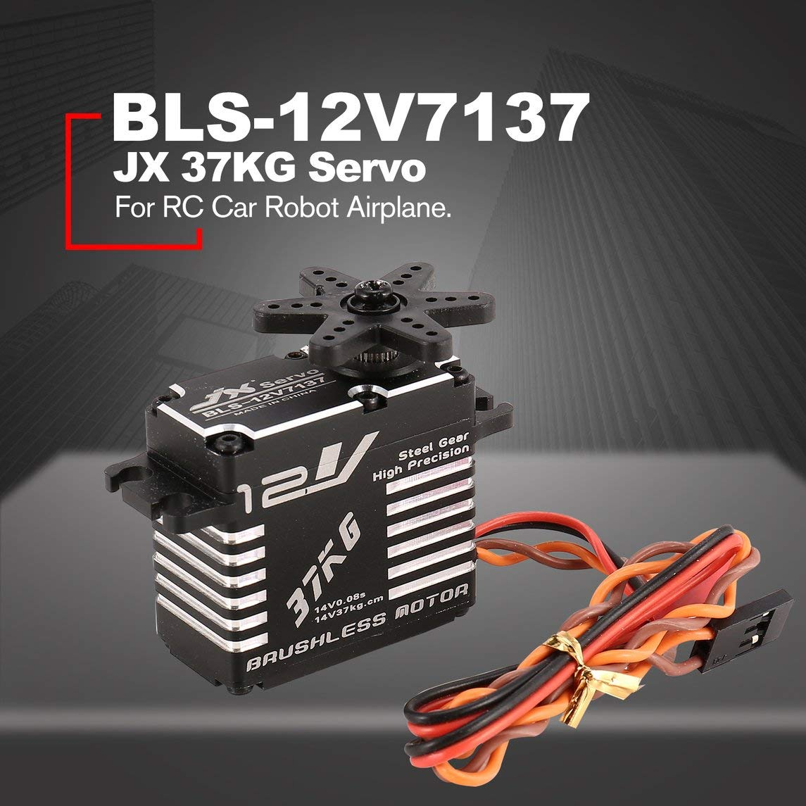 Footprintse JX BLS-12V7137 37KG Metall Lenkung Digital 12V HV Brushless Servo für RC Car-Farbe: Schwarz