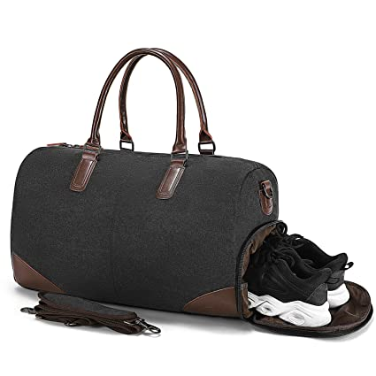 Fresion Canvas Travel Duffel Bag  Weekender Overnight Bag With Shoe Pouch Men by Fresion
