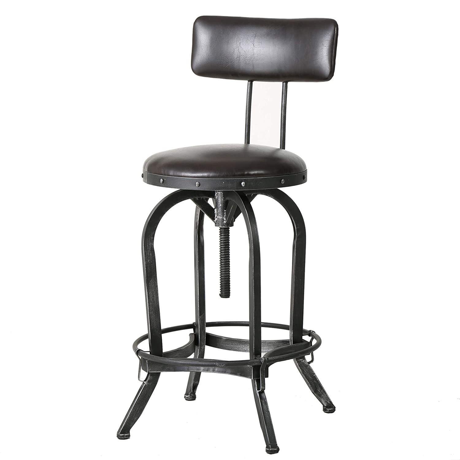 Samthorn Metal Industrial Barstool with Backrest (Brown Recast Leather)