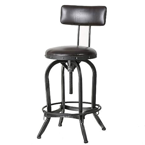 Samthorn Metal Industrial Barstool with Backrest (Brown Recast Leather)