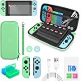 Switch Accessories Bundle - 12 in 1 Accessories Kit Compatible with Nintendo Switch for Animal Crossing with Carrying Case, S