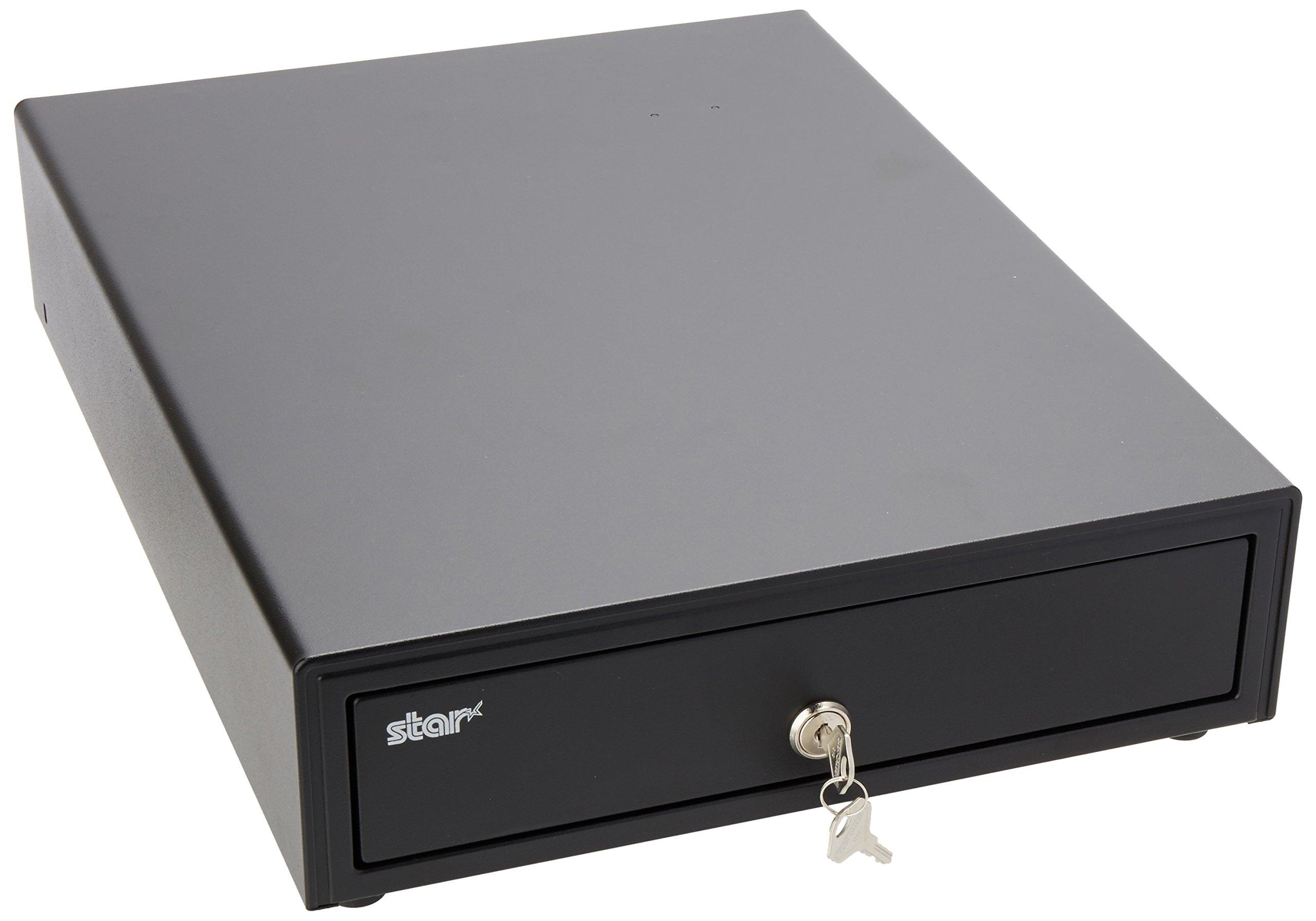 Star Micronics, 37964220, Cash Drawer, 13'' x 17'', Printer Driven, 4 Bill/4 Coin, Black, Keys included