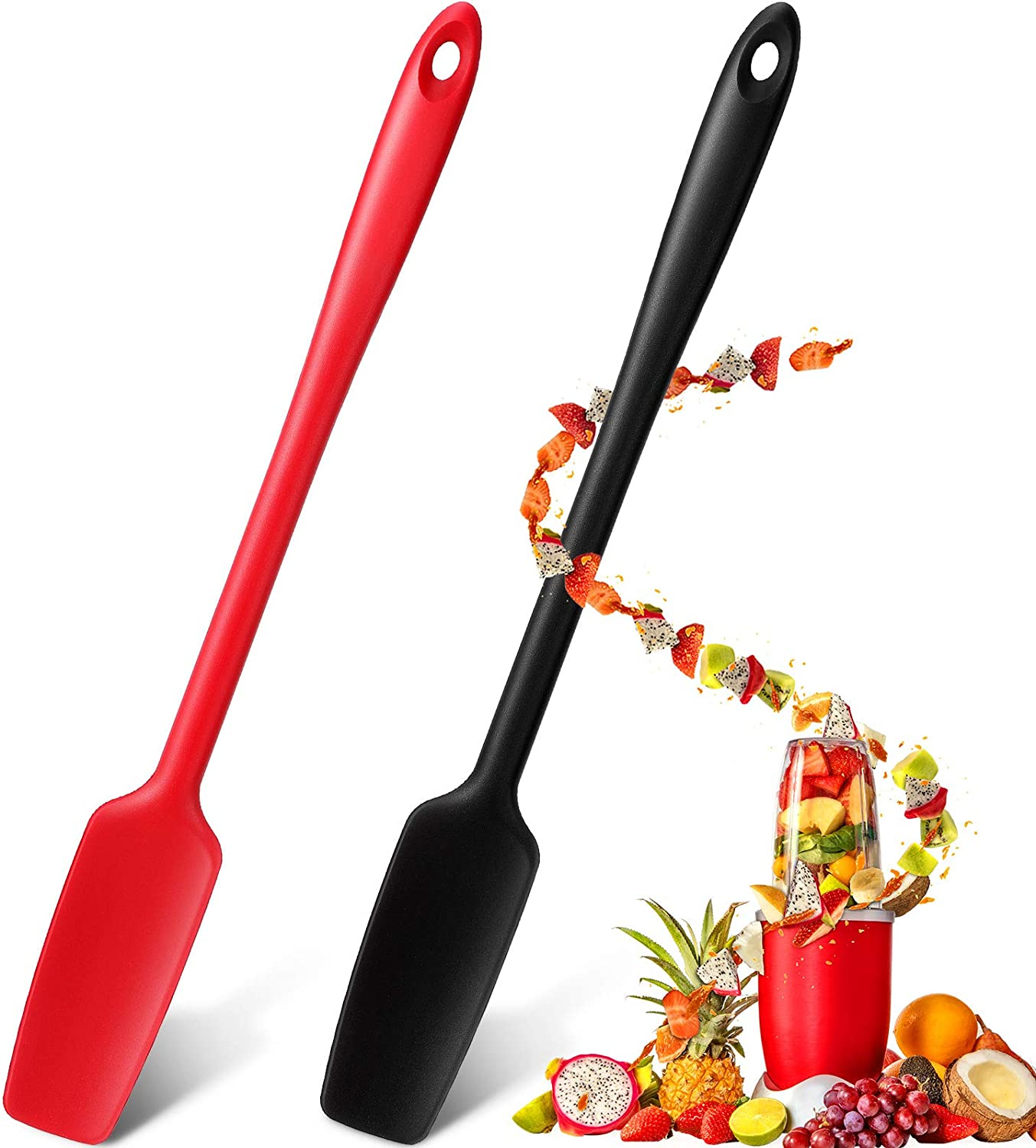 Long Handle Silicone Jar Spatula Kitchen Scraper Spatula Non-Stick Rubber Scraper Silicone Scraper for Jars, Smoothies, Blenders Cooking Baking Stirring Mixing (2, Red, Black)