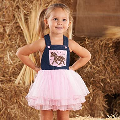 fbd1c48cc7729 Image Unavailable. Image not available for. Color  Mud Pie Little Girls   CowGirl Overall Dress WB