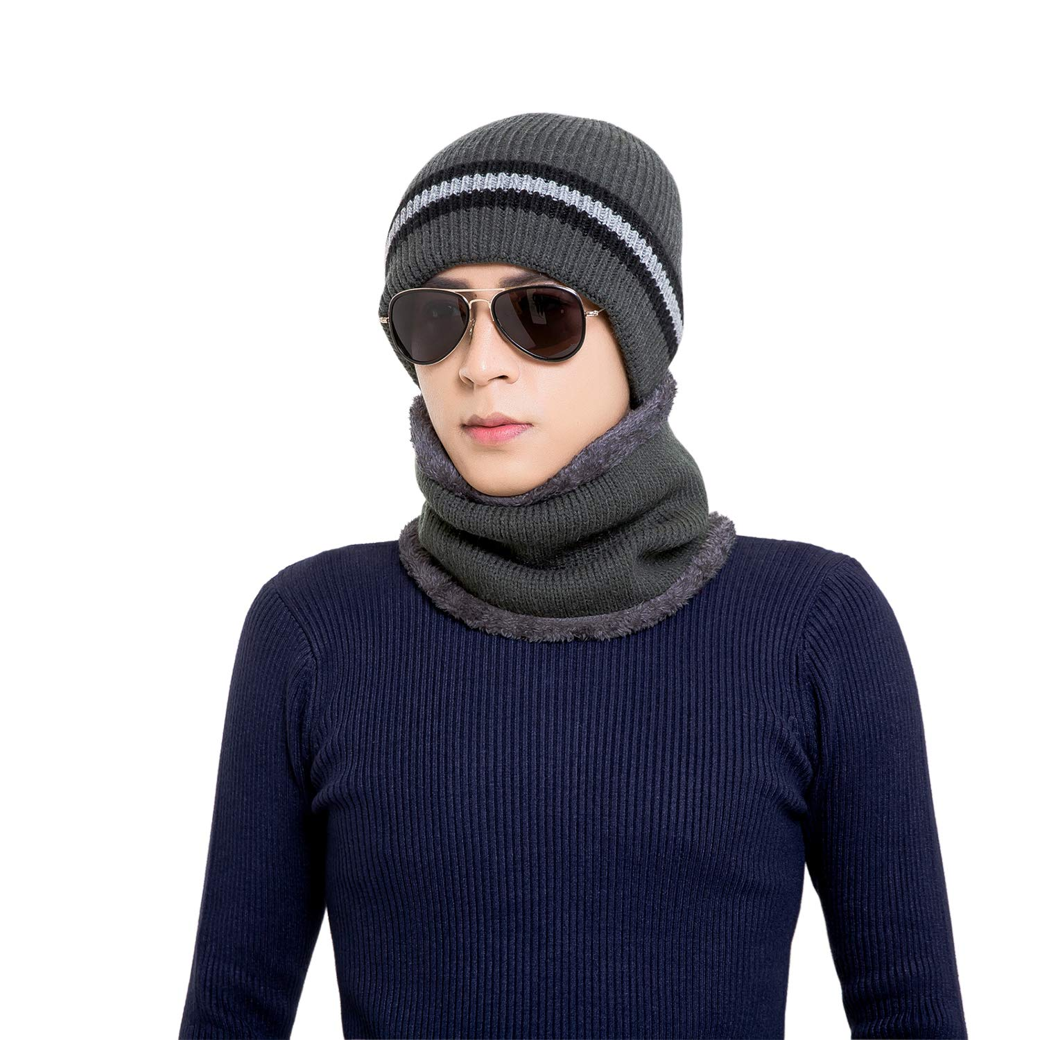 2-Pieces Winter Warm Knit Beanie Hat Scarf Set Fleece Lined Skull Cap for Men