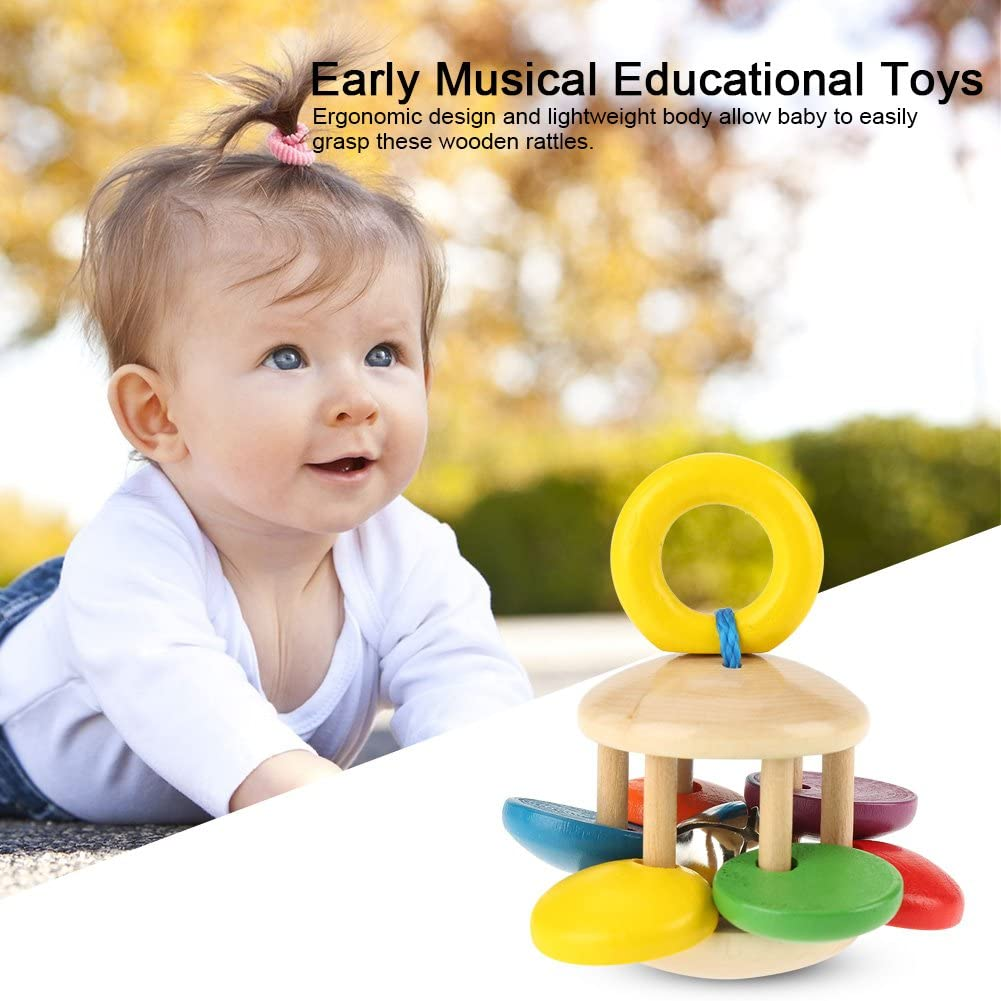 Kasstino Infant Newborn Baby Colored Wooden Bed Hand Bell Tambourine Instrument Rattle Early Education Music Toys Kids Musical Instruments Children Percussion Rhythm Band Style A