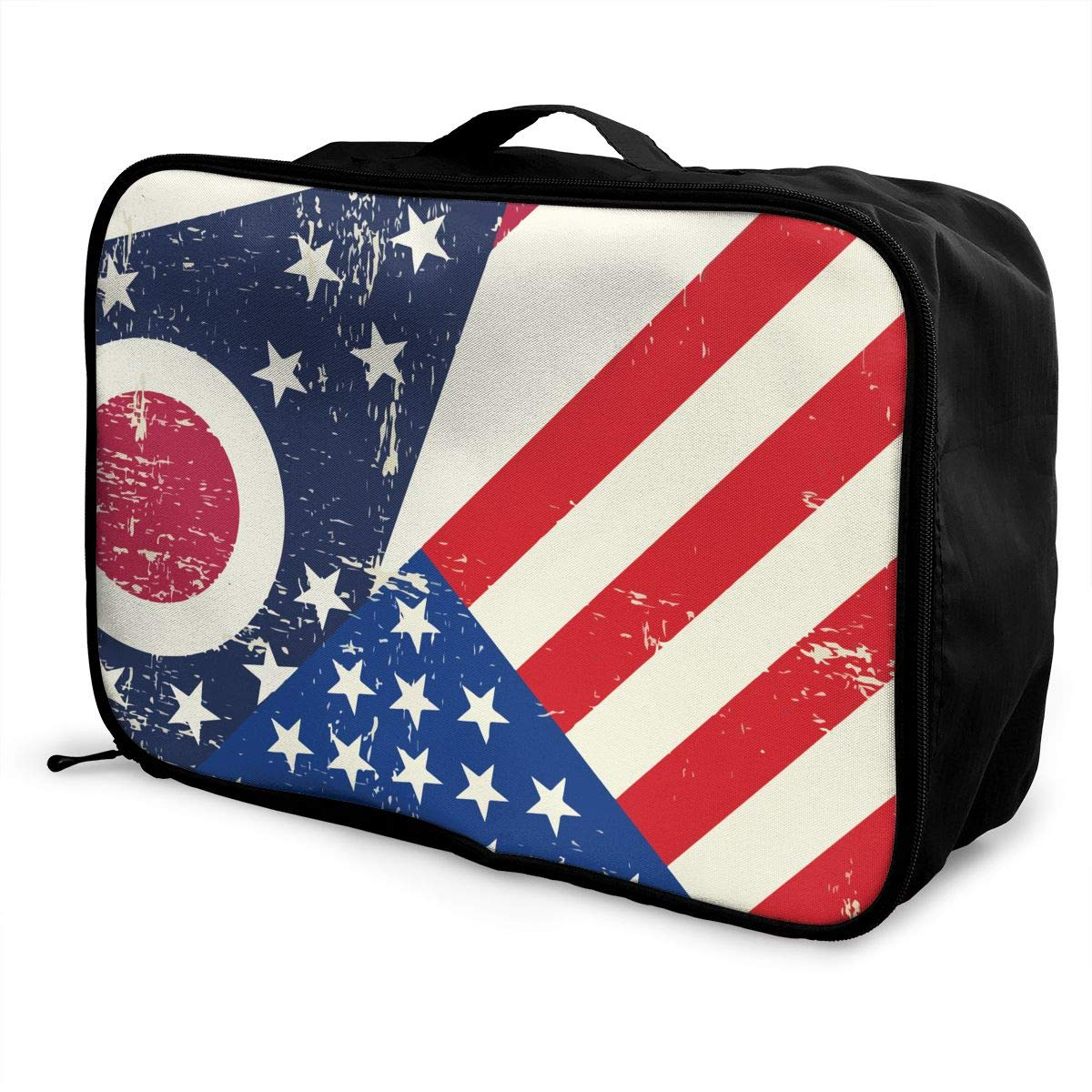 YueLJB USA Ohio State Flag Lightweight Large Capacity Portable Luggage Bag Travel Duffel Bag Storage Carry Luggage Duffle Tote Bag