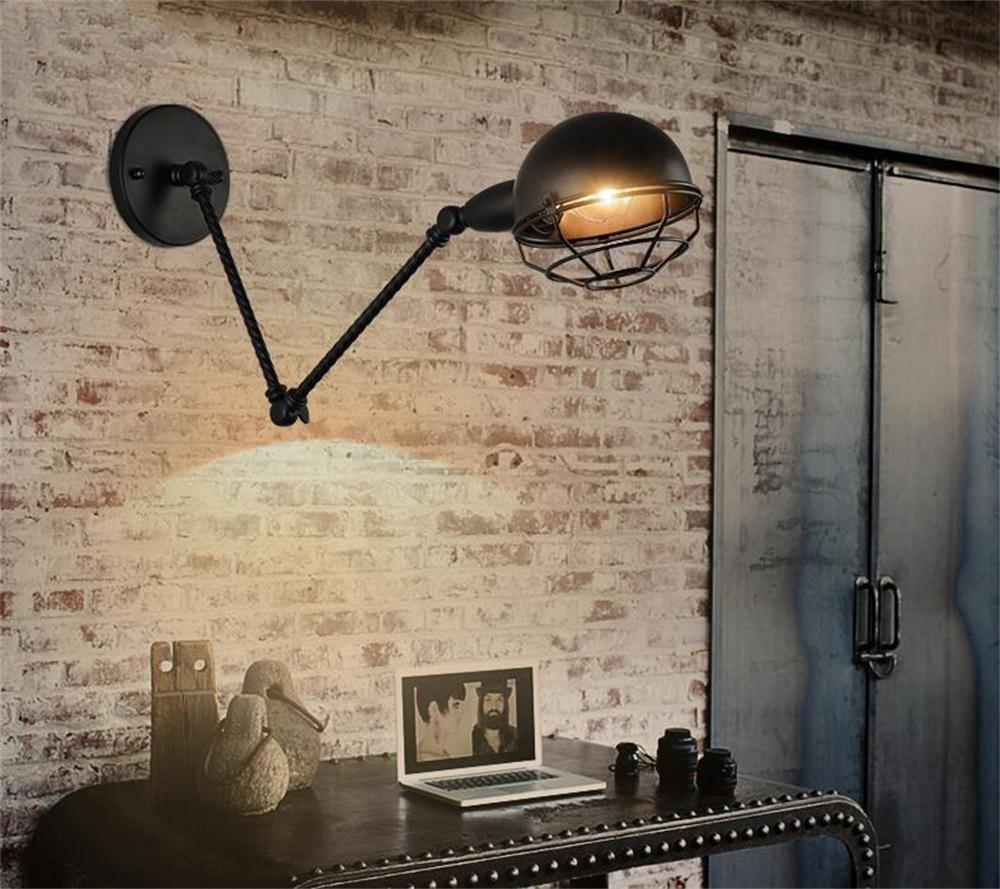 lampe de chevet américaine rétro rocker télescopique mur de pliage lampe chambre robot industriel à double restaurant en plein air lampe murale [Efficacité énergétique: A +] MEI
