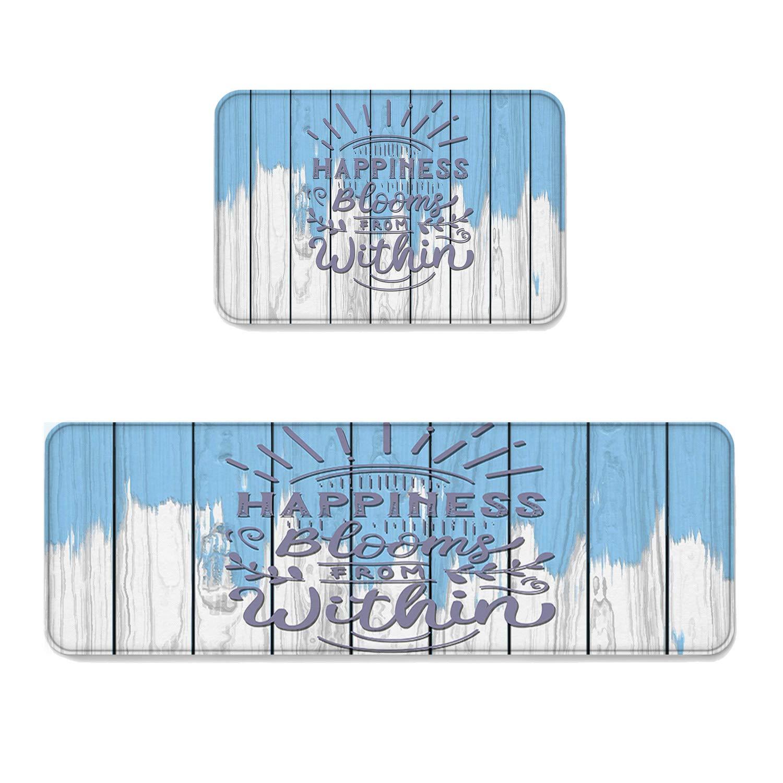 Beauty Decor 2 Piece Non-Slip Kitchen Mat Runner Rug Set Ocean Theme Doormat Area Rugs Blue and Grey Rustic Wood Plank 23.6''x35.4''+23.6''x70.9''