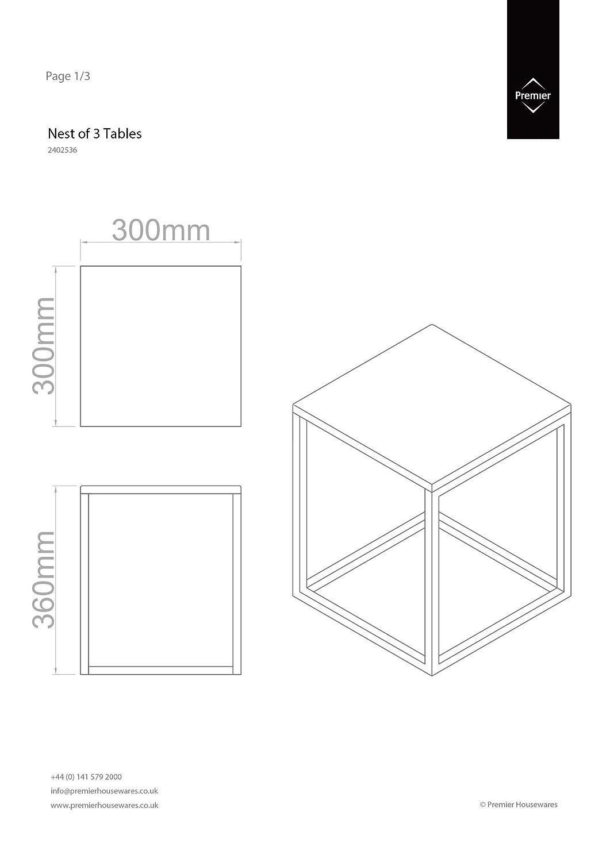 Premier Housewares Tische, verschachtelbar, verschachtelbar, Tische, mit Chromgestell, 42 x 40 x 40 cm, 3-teiliges Set, hochglänzend/schwarz 0a7123
