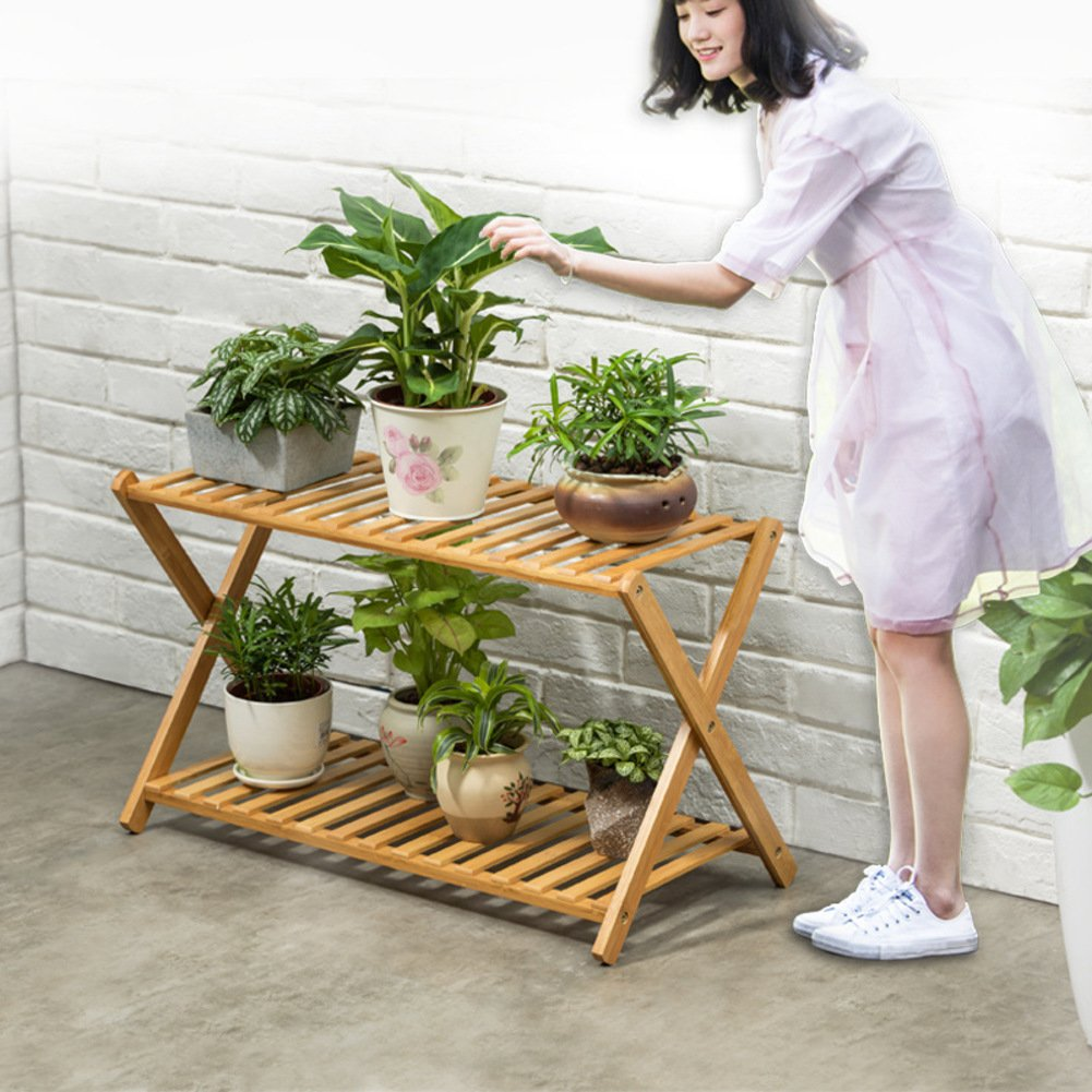 Flowerpot shelves cross type floor living room multi-storey balcony multiple meat flowerpot rack-A by Fashion decoration home