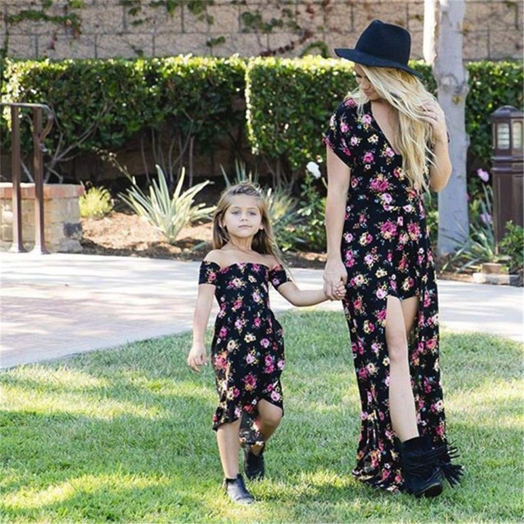 SKYLA Mommy and Me Dresses Matching Outfits Baby Girl Women Long Flower Playwear Dress for Mother Daughter Matching Clothes