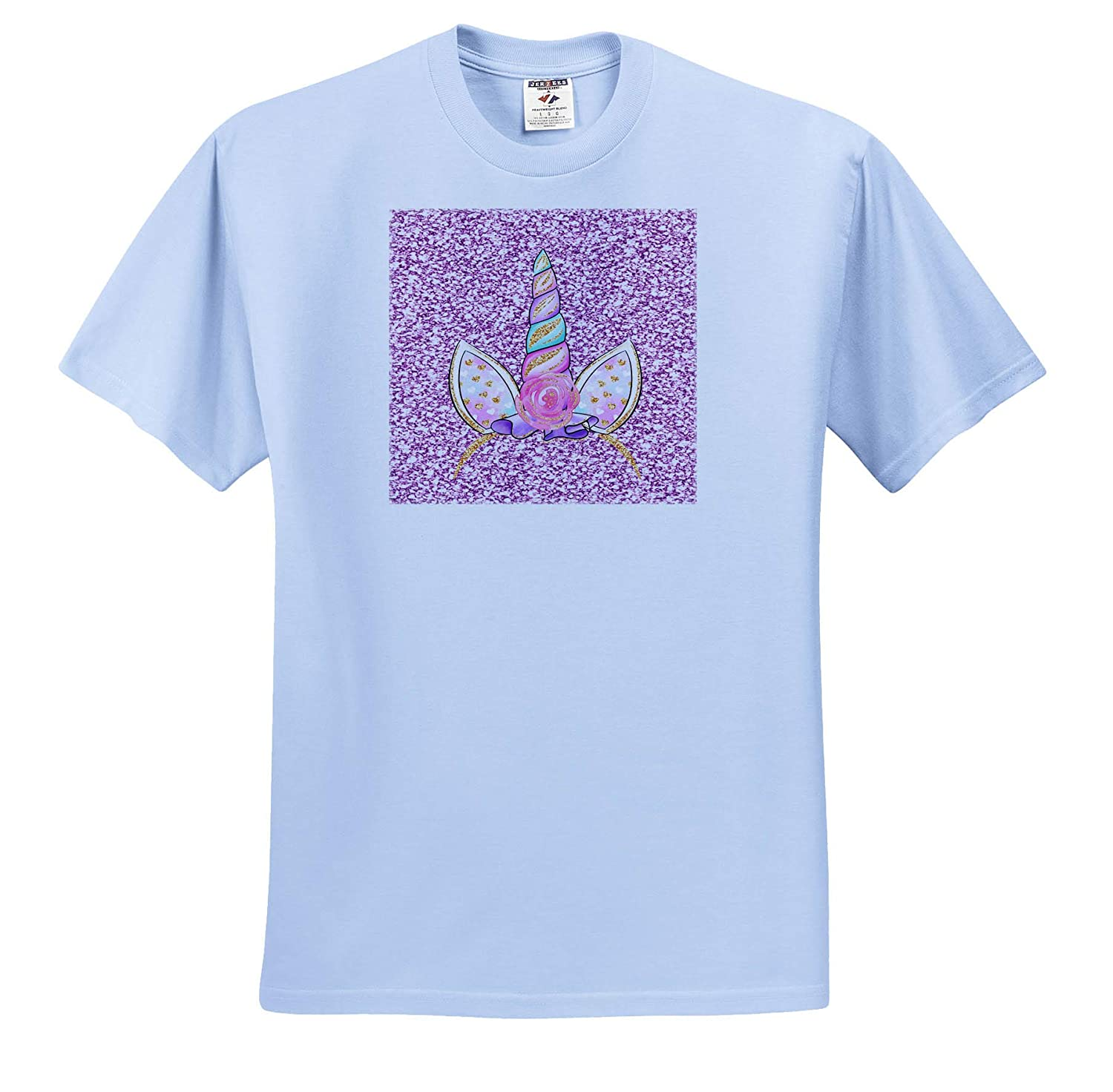 Art- Unicorn Headpiece Unicorn Headpiece on Sparkle Printed Background 3dRose Made in The Highlands T-Shirts