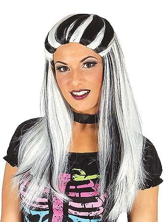 Guirca 4909 - Peluca Melena Blanca Y Negra (Envase Caja): Amazon.es: Juguetes y juegos