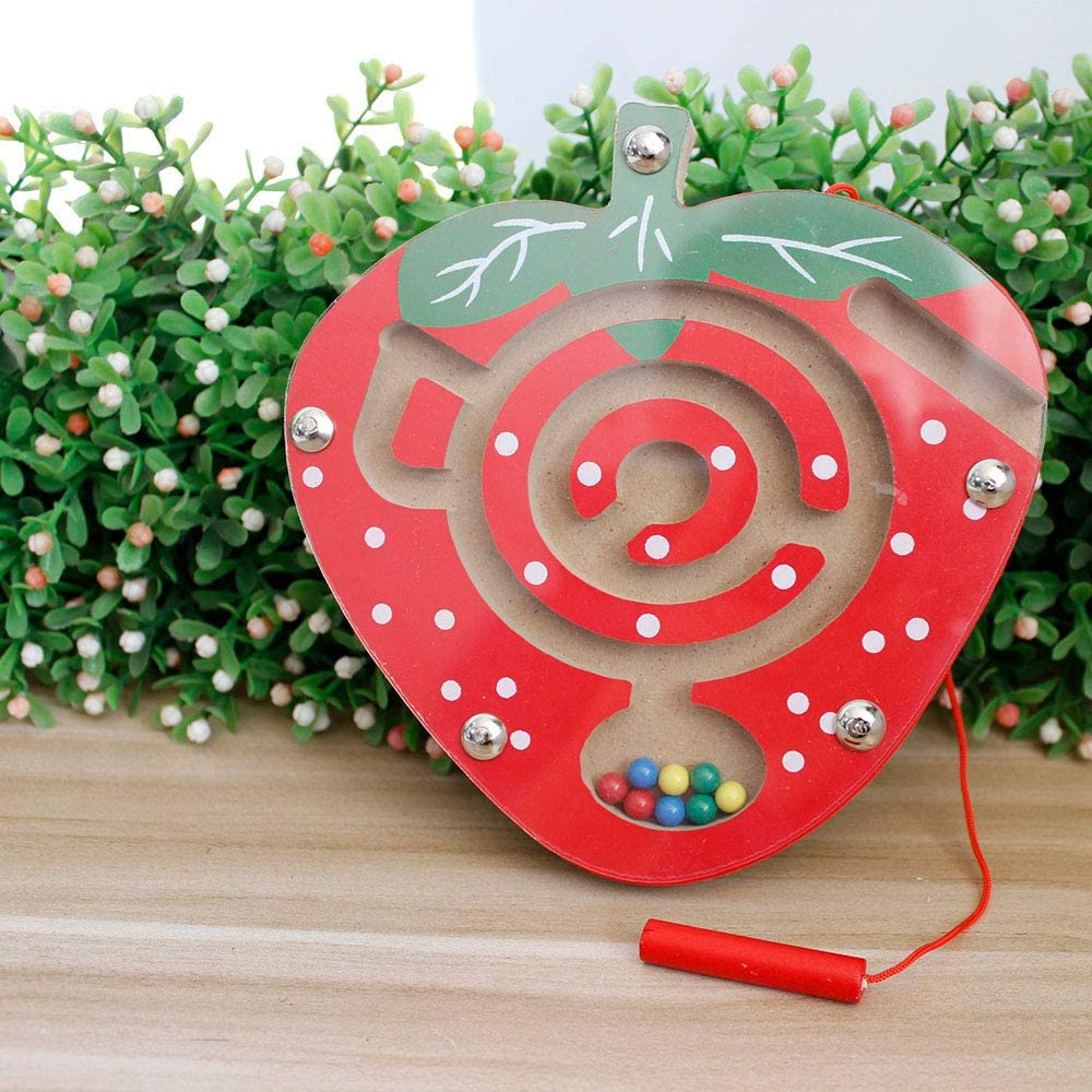 Gobus MiNi Tiny Wooden Beads Maze Strawberry Pen Driving Maze Puzzle Educational Board Game Interactive Maze Toys for Children