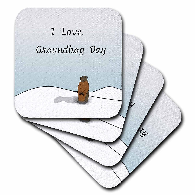 Set of 4 CST/_204327/_3 Ceramic Tile Coasters 3dRose Print of I Love Groundhog Day Cartoon