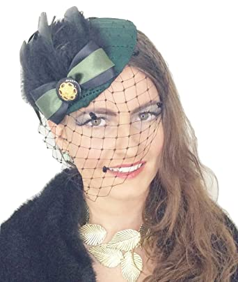 Green Goddess Womens Ladies Handmade Vinatge Style Forest Dark Green Bottle  Green NET Veil HAT Fascinator ba69d75a9a6