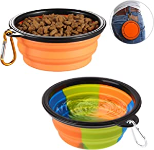 Collapsible Dog Bowl,2 Pack Silicone Fodable Water Food Bowls for Dogs Cats,Portable Expandable Pet Feeding Watering Cup Dish for Walking Parking Traveling with 2 Carabiners,BPA Free,Dishwasher Safe