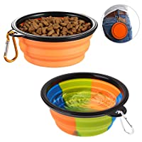 lesotc Collapsible Dog Bowl,2 Pack Silicone Fodable Water Food Bowls for Dogs Cats...