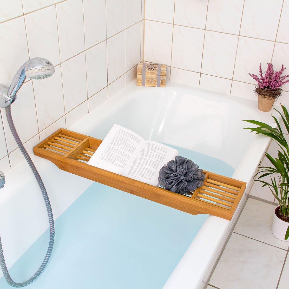 Relaxdays Mensola Vasca da Bagno per Accessori, Bambù, con 3 ...
