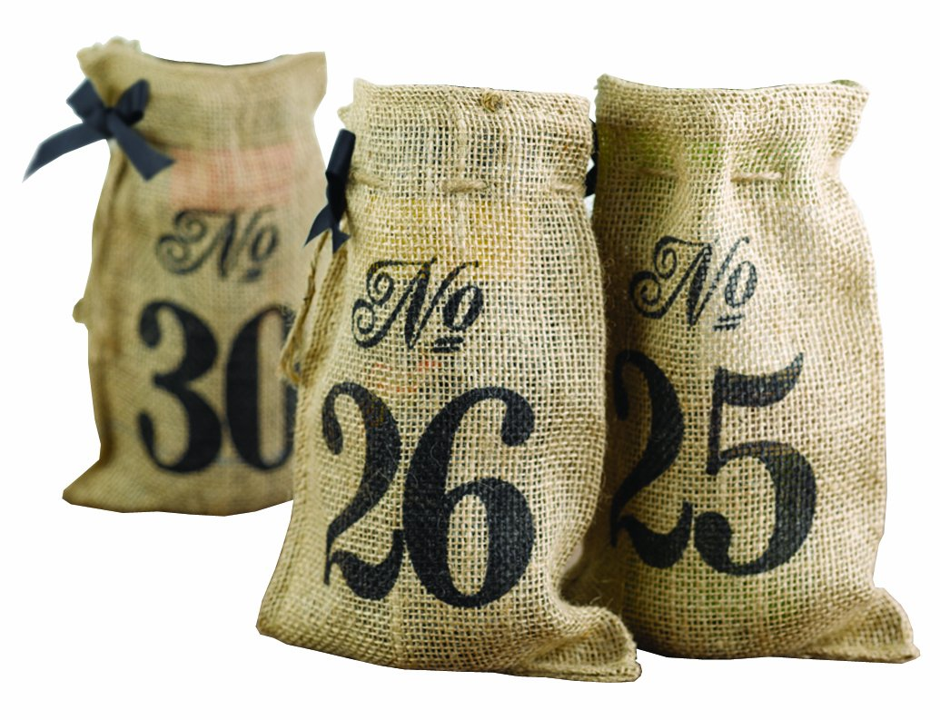 Hortense B. Hewitt 11 to 20 Burlap Table Number Wine Bags Sourced Wit 20843