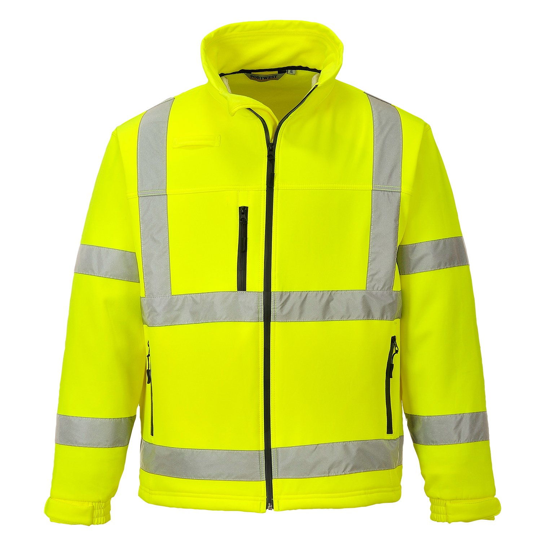 Portwest S424YERXXXL Hi-Vis Classic Softshell Jacket Regular Size 3X-Large Yellow Three Layer