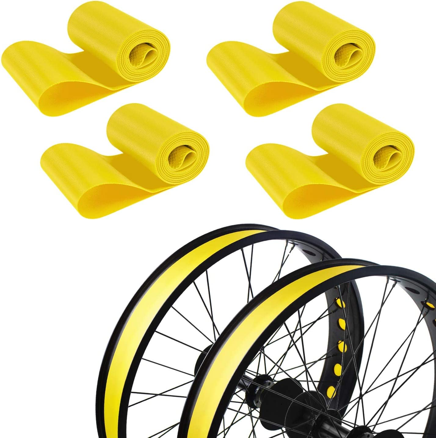 Addmotor Rim Strip Rim Tape 20 inch Fat tire Liner PVC Inner Tube Cushion Protector Anti Puncture for Bikes 4PCS