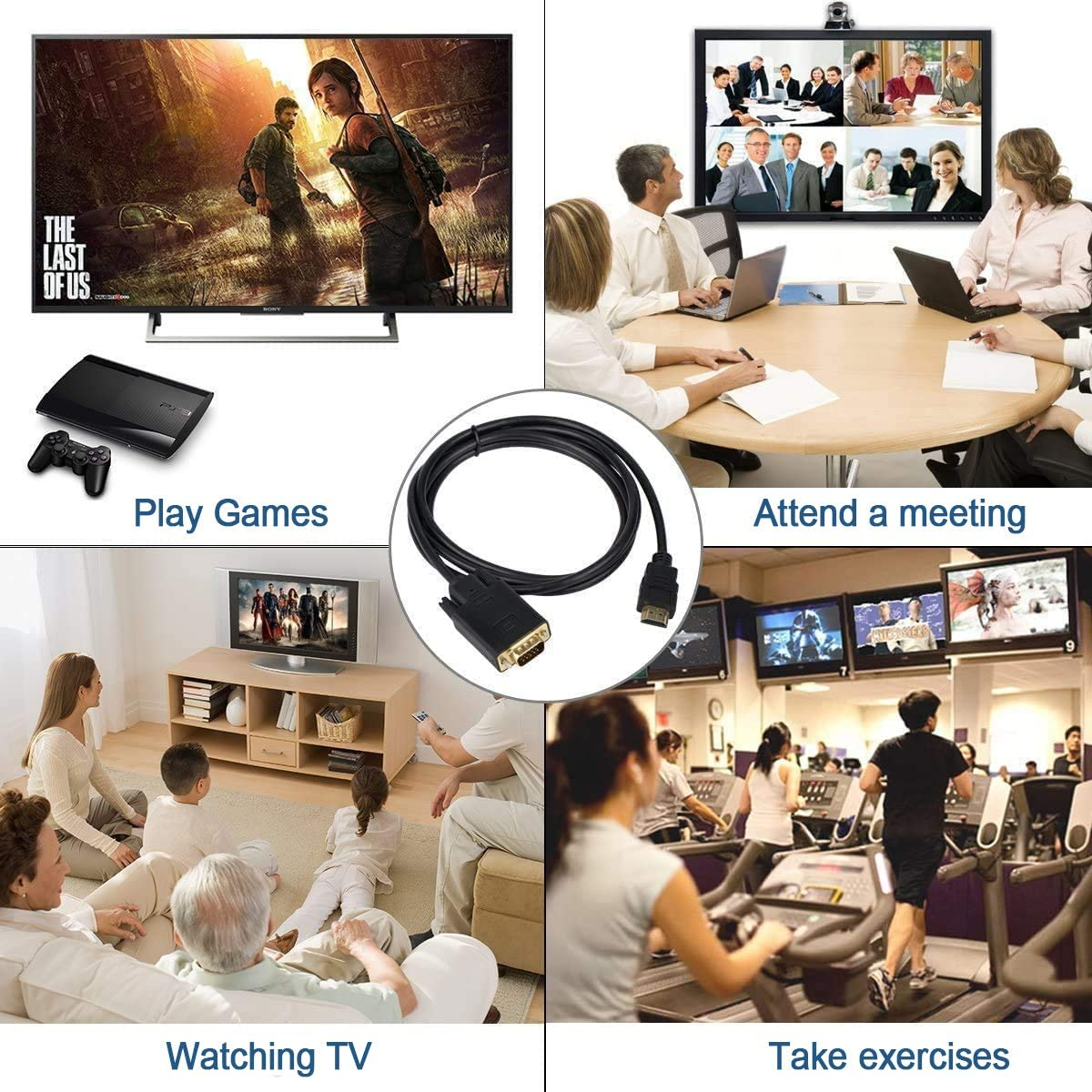 Xbox. Monitor Projector Gold-Plated 1.8M HDMI to VGA Cable Male to Male Laptop Desktop HDTV HDMI to VGA Cable Converter for Computer PC