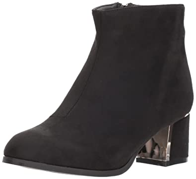 Qupid Women's Low Heeled Bootie with Heel Ornament Ankle Boot