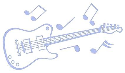 Vinilo decorativo hogar -Guitarra, Mate, Orientación normal ,40 x 23 cm.