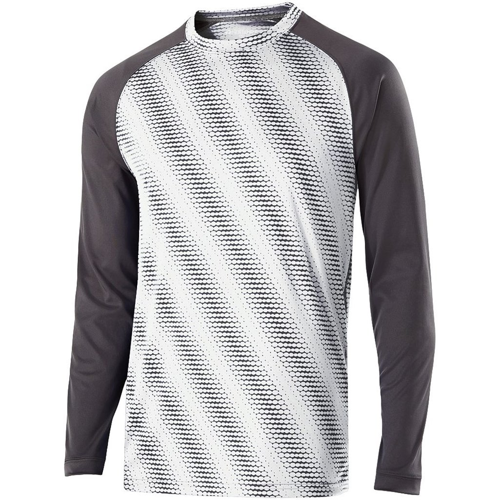 Holloway Youth Torpedo Semi-Fitted Long Sleeve Shirt (Large, White/Carbon) by Holloway