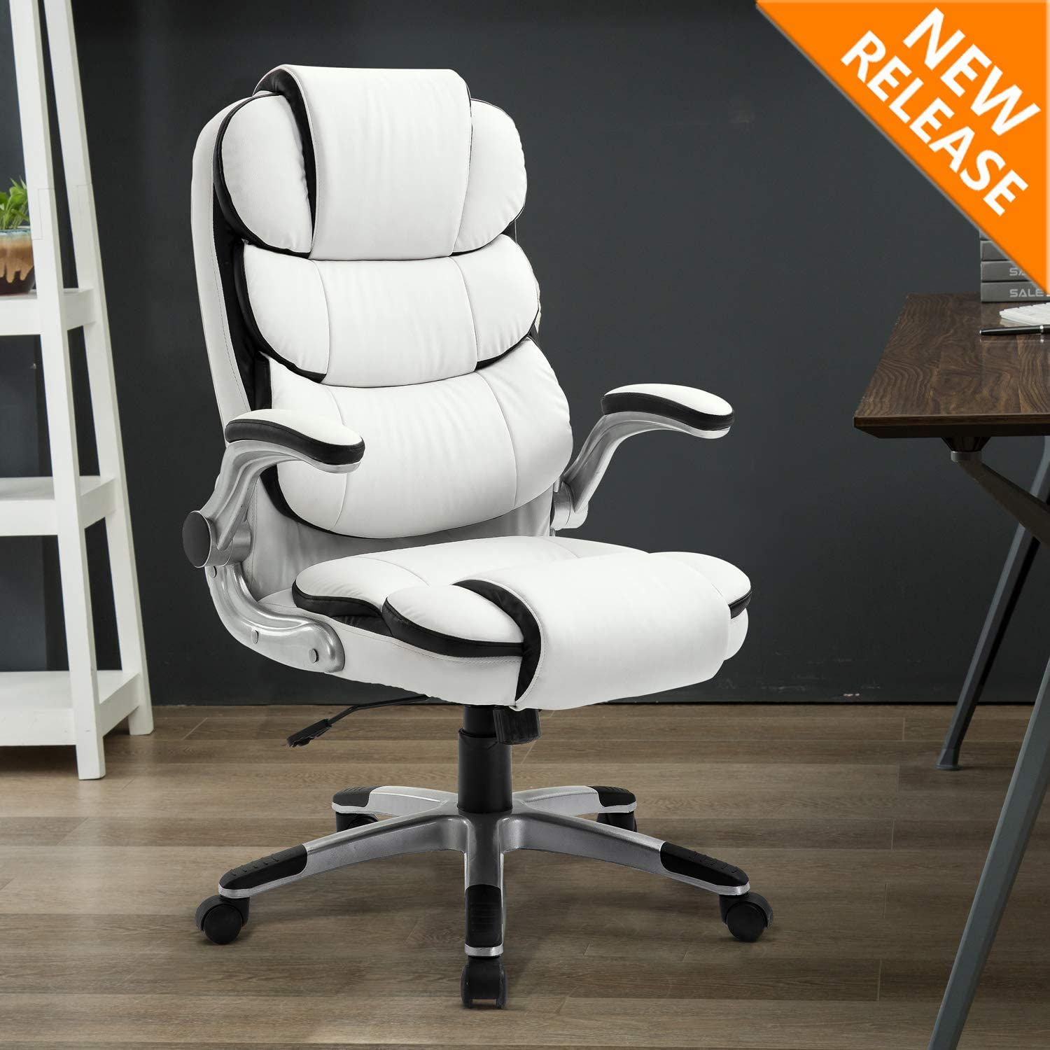 YAMASORO Heavy Duty White Office Chair Desk Chair Stylish High Back  Computer Chair with Adjustable Arms and Back Support for Heavy People