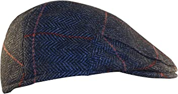 ab0b618d2b660 Shandon Irish Herringbone 100% Wool Gray Flat Cap with Red Stripe