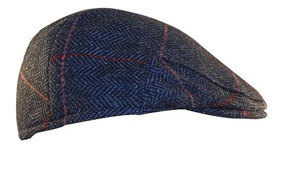 be958a99183fe Shandon Irish Herringbone 100% Wool Gray Flat Cap with Red Stripe at ...