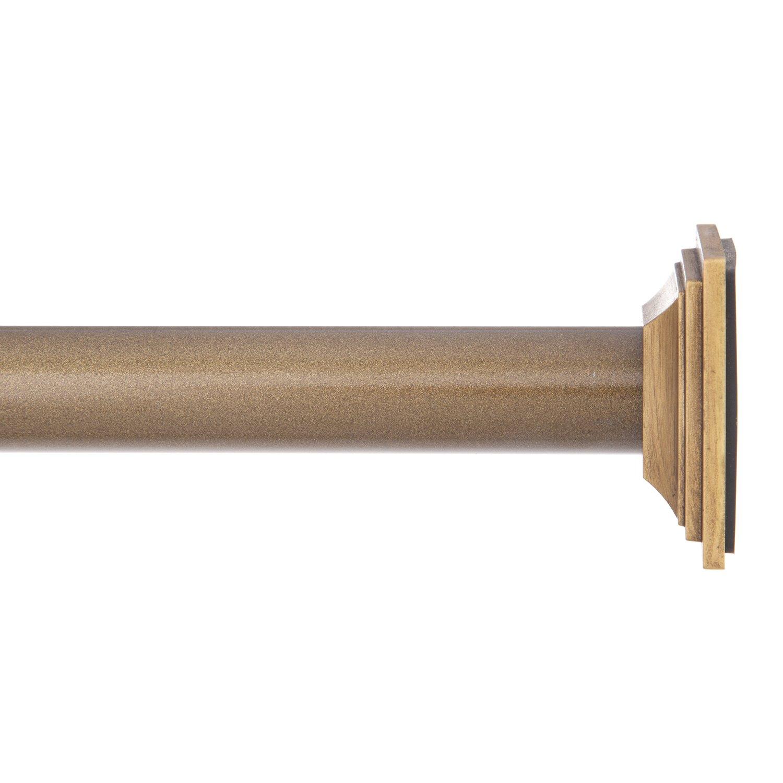 Eclipse Room Darkening Tension Window Curtain Rod, 48 to 86-Inch, Antique Brass