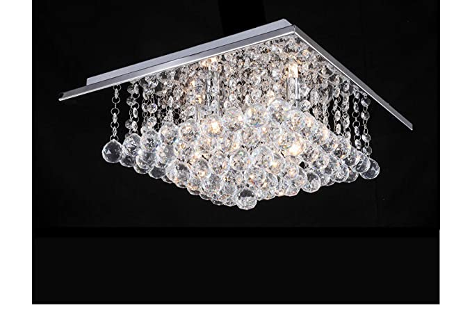 on sale 8a25f ea16b A1A9 Modern Square Glass Crystal Droplet Ceiling Light Pendant Lamp,  Chandelier for Study Room/Office, Dining Room, Bedroom, Living Room,  SizeL38cm ...