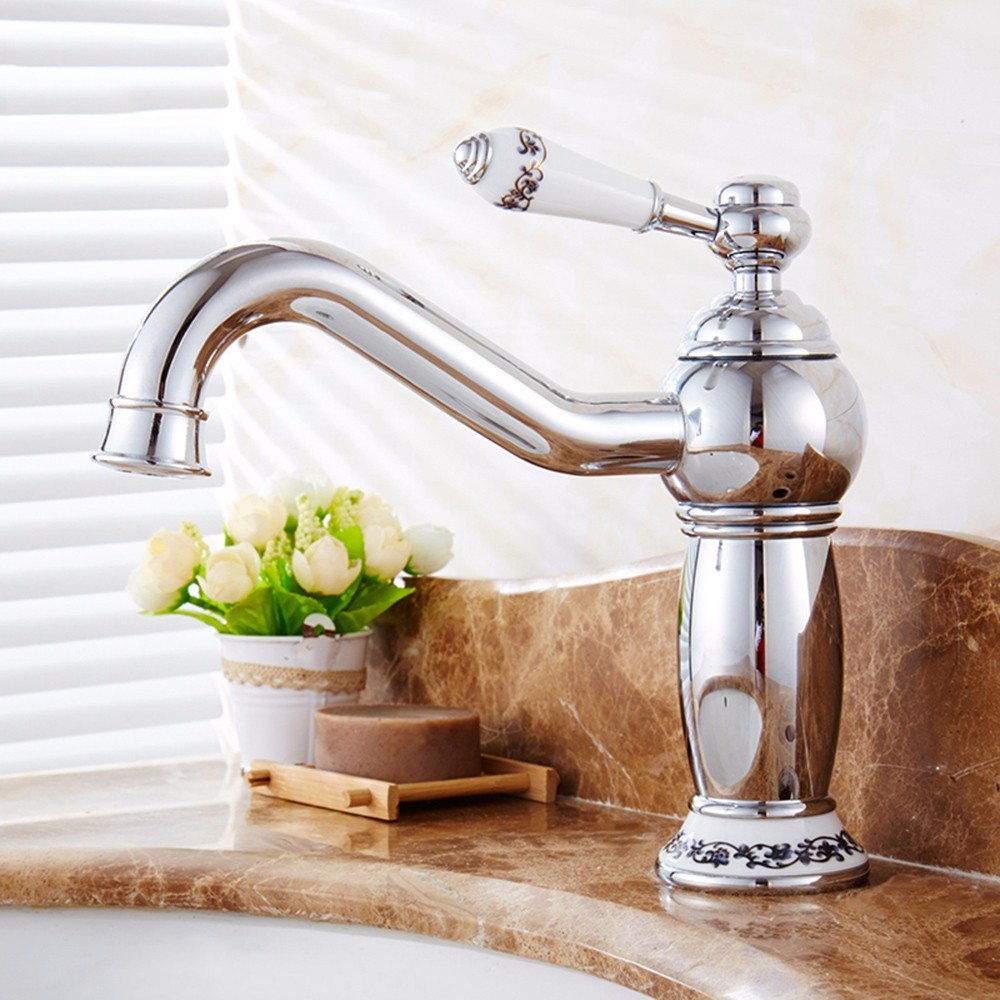 11 LHbox Basin Mixer Tap Bathroom Sink Faucet European retro style, copper, hot and cold, the basin, single handle, plus high, Single Hole Sink mixer 7