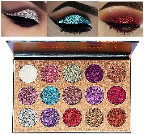 Jooayou 15 colore Ultra Pigmentado Paleta de Sombras de Ojos, Brillo de Sombra de Ojos, Polvo de Sombra de Ojos Maquillaje Impermeable de Larga Duración, No se Requiere Pegamento Con Purpurina: Amazon.es: